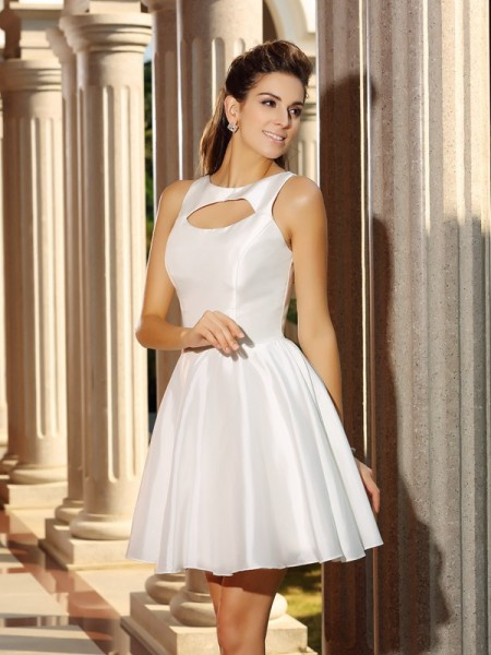 A-Line High Neck Short Satin Homecoming Dresses