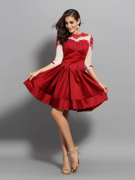 A-Line High Neck Applique Short Satin Homecoming Dresses
