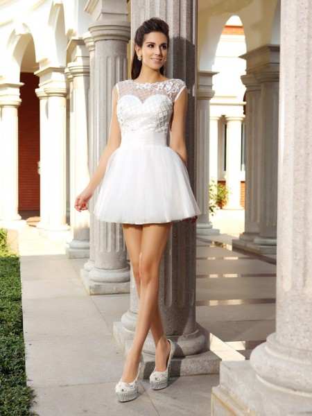 A-Line Scoop Beading Short Satin Homecoming Dresses