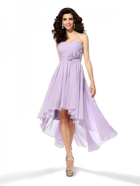 A-Line Sweetheart Hand-Made Flower High Low Chiffon Homecoming Dresses