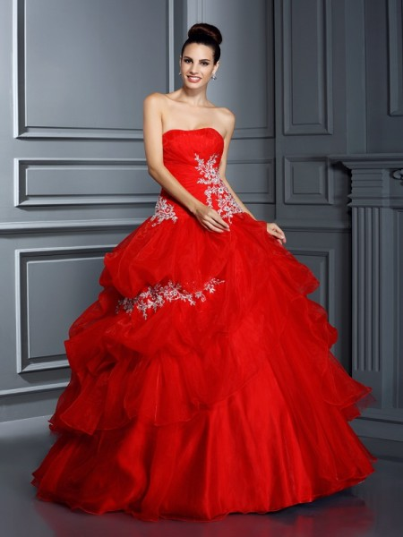 Strapless Applique Organza Ball Gown Quinceanera Dresses