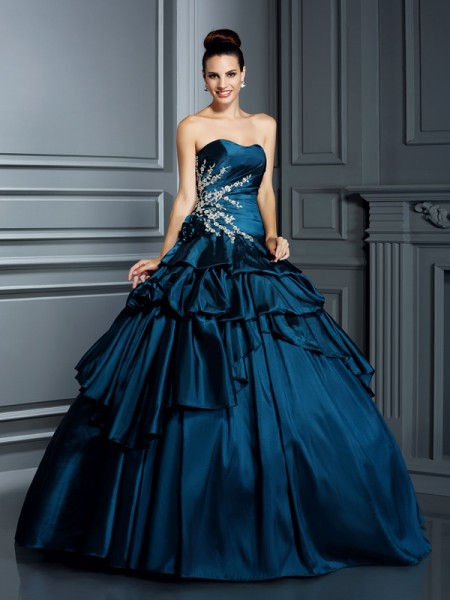 Strapless Beading Taffeta Ball Gown Quinceanera Dresses