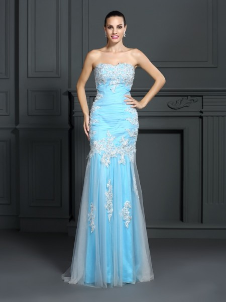 Mermaid Strapless Applique Elastic Woven Satin Prom Dresses