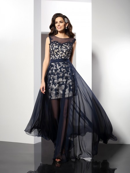 A-Line Scoop Elastic Woven Satin Prom Dresses