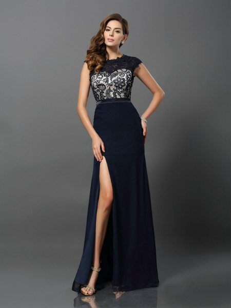 Sheath Jewel Chiffon Prom Dresses