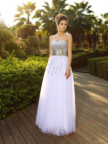 A-Line Sweetheart Beading Organza Prom Dresses