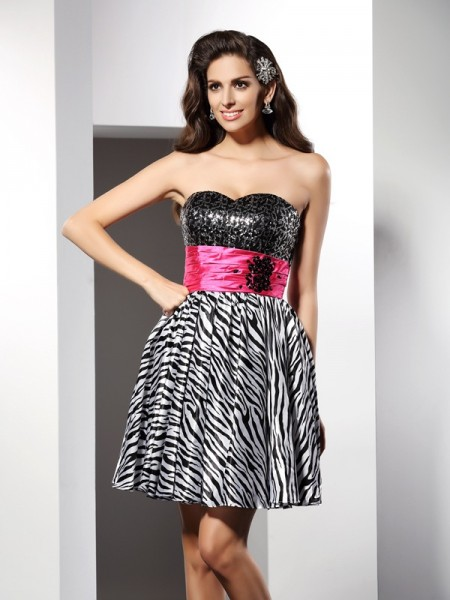 A-Line Sweetheart Short Chiffon Homecoming Dresses