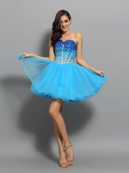 A-Line Sweetheart Ruffles Short Satin Homecoming Dresses