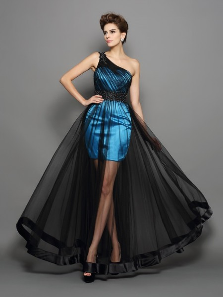 A-Line One-Shoulder Ruched Elastic Woven Satin Prom Dresses
