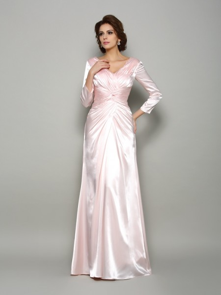 A-Line V-neck Ruched Silk like Satin Mother of the Bride Dresses