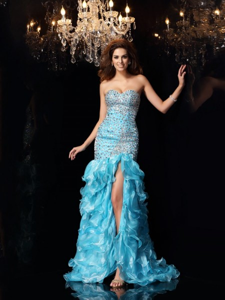 Mermaid Sweetheart Beading High Low Organza Dresses