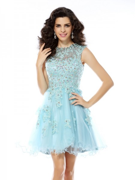 A-Line Scoop Beading Applique Short Satin Homecoming Dresses