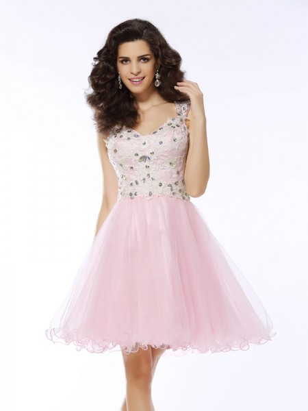 A-Line Sweetheart Applique Short Satin Cocktail Dresses