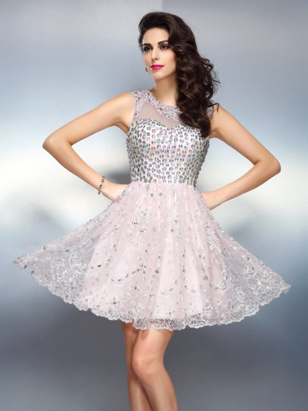 A-Line Bateau Beading Short Satin Homecoming Dresses