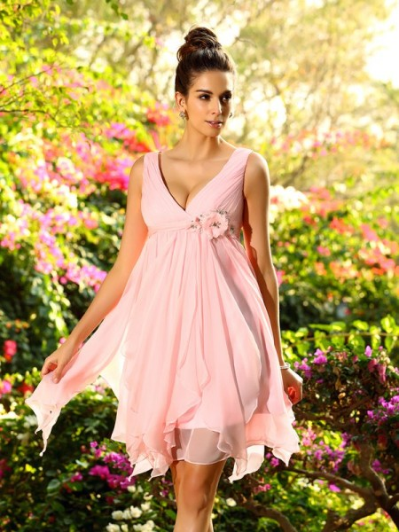 A-Line V-neck Ruffles Short Chiffon Bridesmaid Prom Dresses