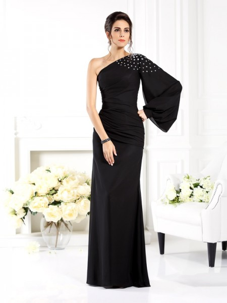 Sheath One-Shoulder Beading Chiffon Mother of the Bride Dresses