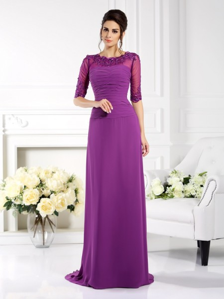 Sheath Scoop Applique Chiffon Mother of the Bride Dresses
