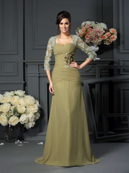 A-Line Sweetheart Hand-Made Flower Chiffon Mother of the Bride Dresses