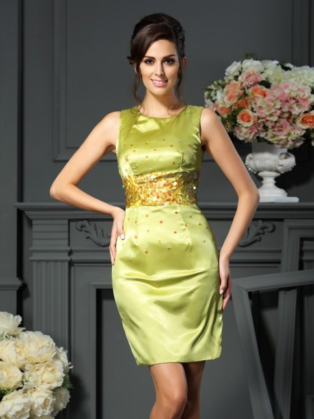 Sheath Scoop Beading Short Silk like Satin Mother of the Bride Dresses
