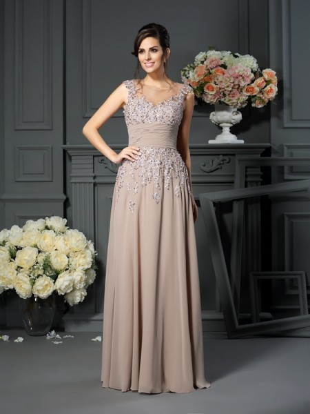 A-Line Scoop Beading Silk like Satin Mother of the Bride Dresses