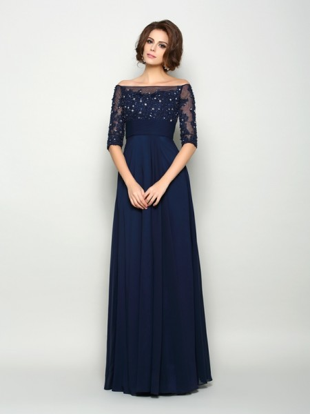 A-Line Off-the-Shoulder Beading Chiffon Mother of the Bride Dresses