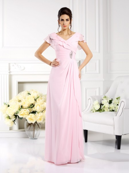A-Line V-neck Ruffles Chiffon Mother of the Bride Dresses