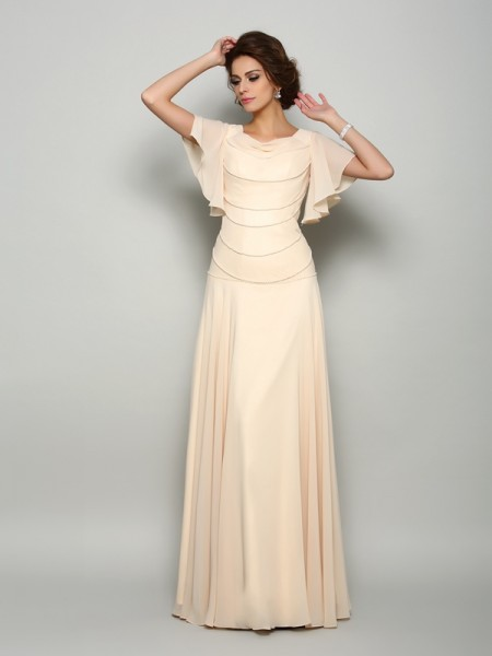 A-Line Square Beading Chiffon Mother of the Bride Dresses