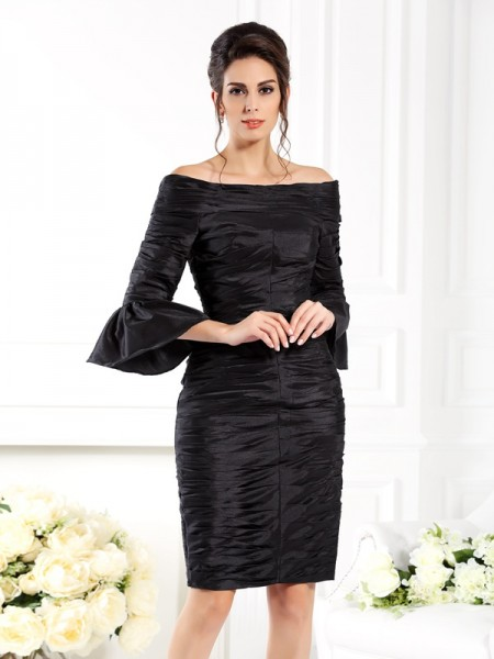 Sheath Off-the-Shoulder Ruched Short Taffeta Mother of the Bride Dresses
