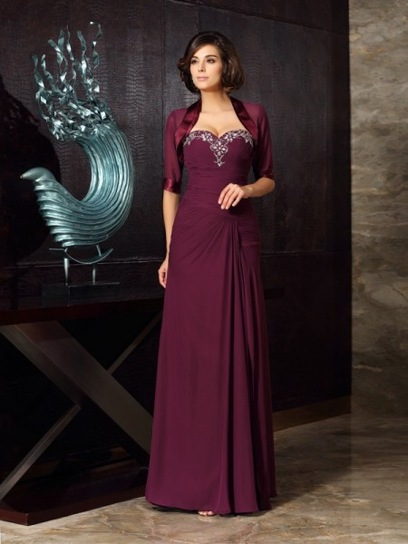 Sheath Sweetheart Beading Chiffon Mother of the Bride Dresses
