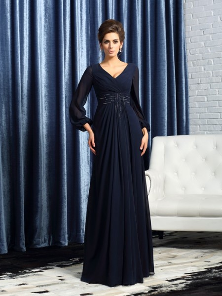 A-Line V-neck Beading Chiffon Mother of the Bride Dresses