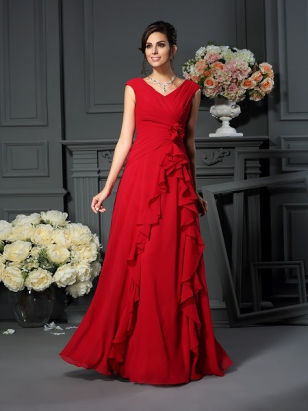 A-Line V-neck Hand-Made Flower Chiffon Mother of the Bride Dresses