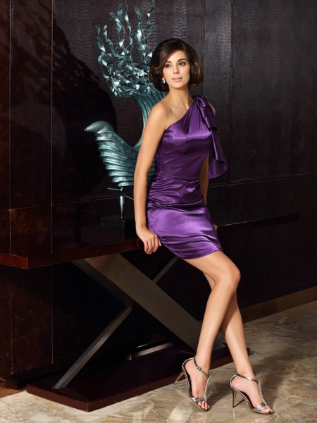 Sheath One-Shoulder Short Elastic Woven Satin Mother of the Bride Dresses