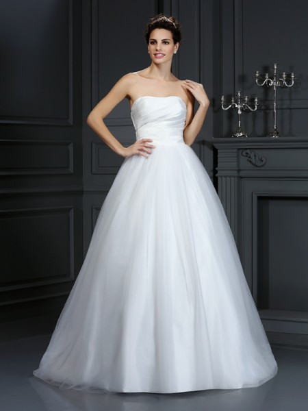 Strapless Pleats Taffeta Ball Gown Wedding Dresses