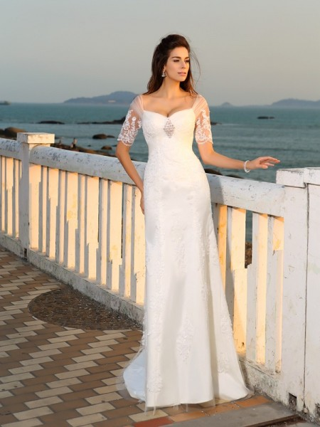 Sheath Sweetheart Applique Satin Beach Wedding Dresses