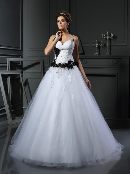 Straps Beading Tulle Ball Gown Wedding Dresses