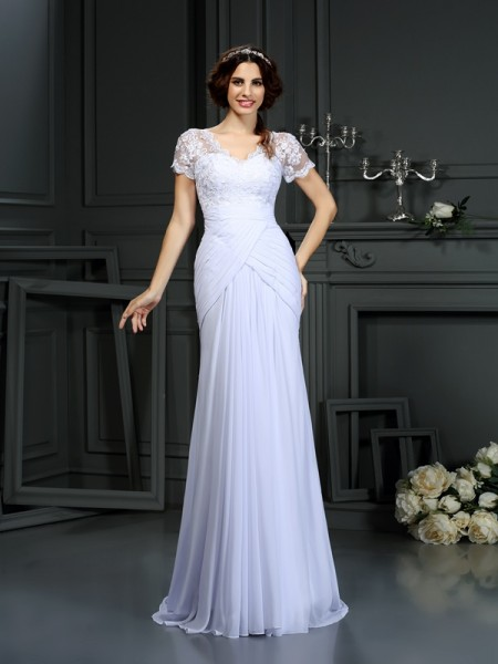 Sheath V-neck Lace Chiffon Wedding Dresses