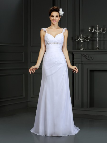 Mermaid Straps Beading Chiffon Wedding Dresses