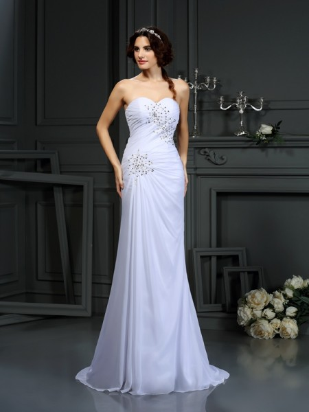 Sheath Sweetheart Beading Chiffon Wedding Dresses
