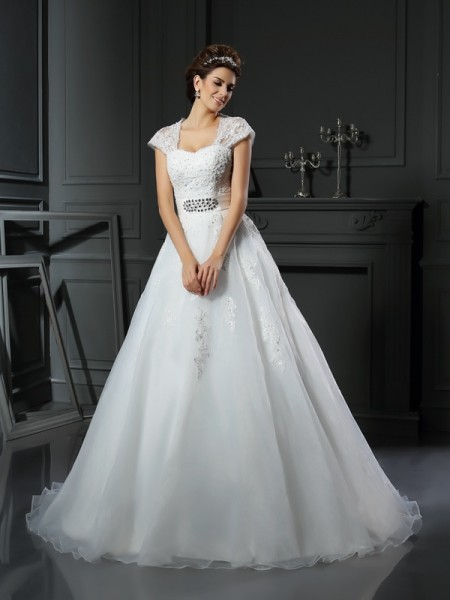 Square Beading Organza Ball Gown Wedding Dresses