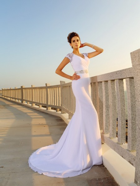 Sheath V-neck Beading Chiffon Beach Wedding Dresses