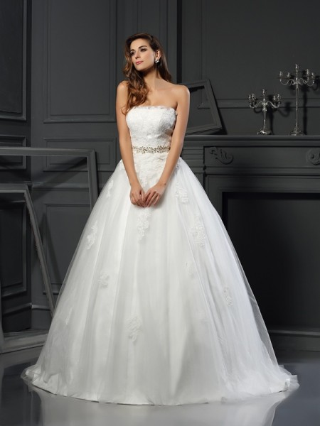 Strapless Applique Net Ball Gown Wedding Dresses