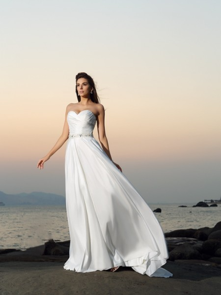 A-Line Sweetheart Beading Taffeta Beach Wedding Dresses