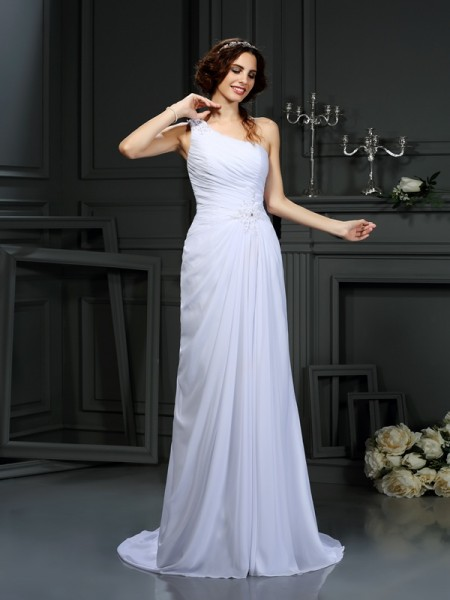 A-Line One-Shoulder Pleats Chiffon Wedding Dresses
