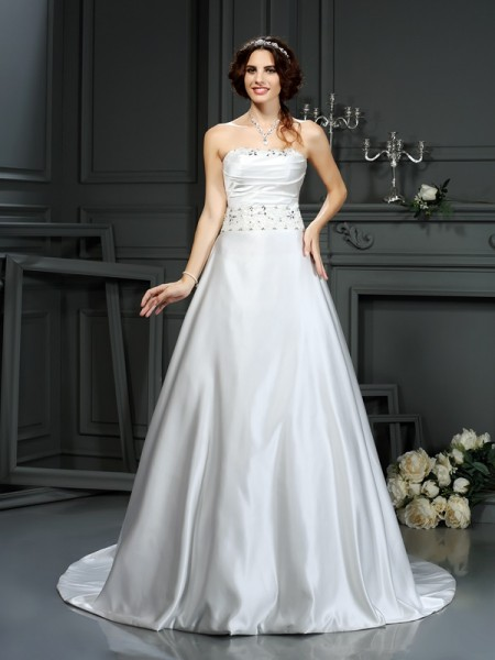 A-Line Strapless Beading Satin Wedding Dresses