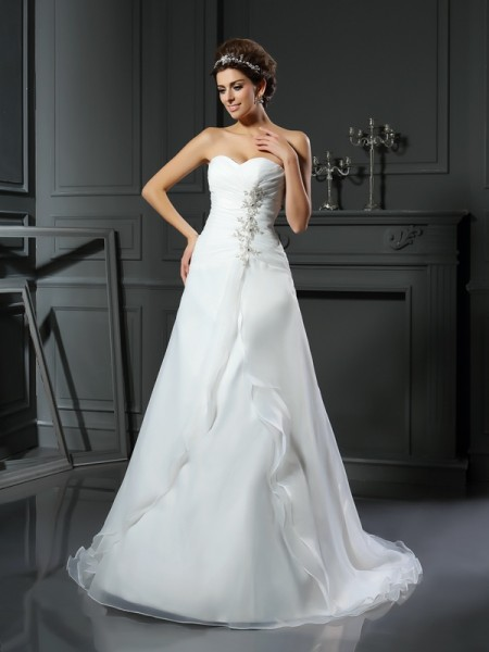 A-Line Sweetheart Ruched Satin Wedding Dresses