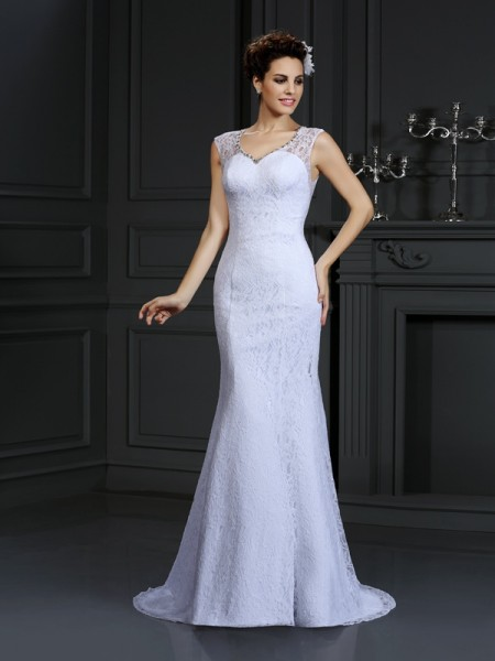 Sheath V-neck Lace Satin Wedding Dresses