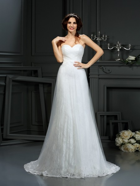 A-Line Sweetheart Pleats Net Wedding Dresses