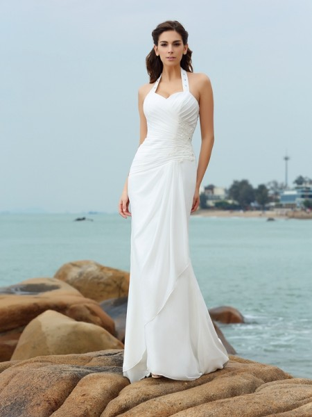 Sheath Halter Pleats Chiffon Beach Wedding Dresses