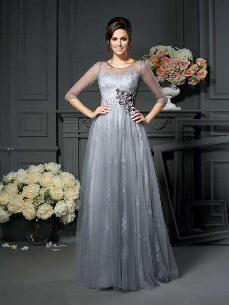A-Line Scoop Lace Satin Mother of the Bride Dresses