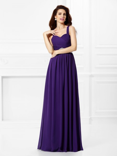 A-Line Sweetheart Beading Pleats Chiffon Prom Dresses
